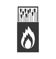 monochrome silhouette of matchbox with logo flame vector image