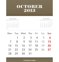 October 2013 calendar design vector image vector image