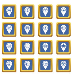 Points of interest icons set blue vector