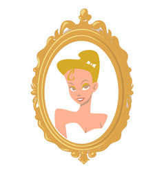 Portrait of a cartoon blonde girl in a gold frame vector