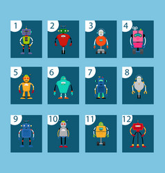 robots and numbers game cards vector image