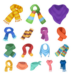 Scarf and shawl cartoon icons in set collection vector