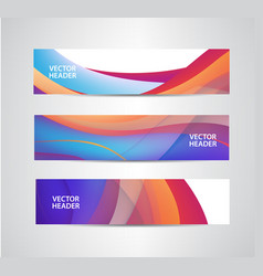 Set of abstract colorful wavy headers vector