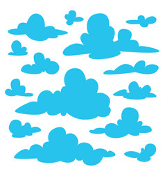 set of blue fluffy clouds silhouettes on white vector image