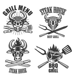 set of steak house labels and design elements on vector image vector image