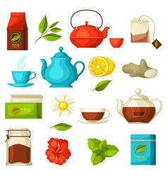 Set of tea and accessories packs and kettles vector