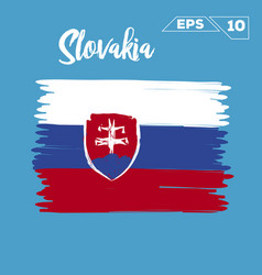Slovakia flag brush strokes painted vector