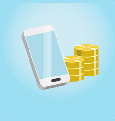 smartphone and coins vector image