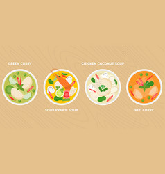 Thai dish green curry vector