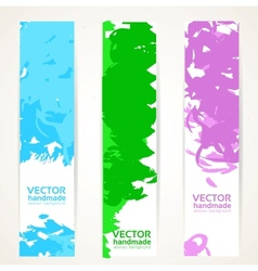 Vertical abstract handdrawing by ink banner set vector image vector image