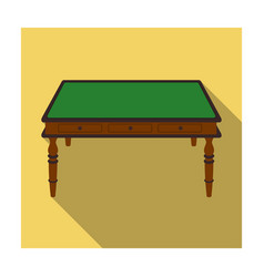 Wooden table icon in flat style isolated on white vector