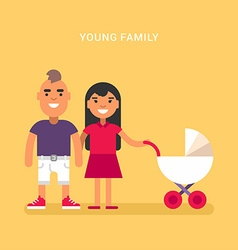Young family with a babby carriage stroller vector