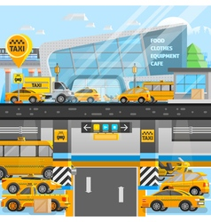 Taxi cars composition vector