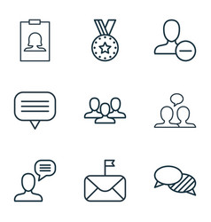 Set of 9 social network icons includes medal vector