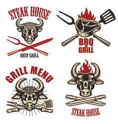 Set of steak house labels and design elements on vector