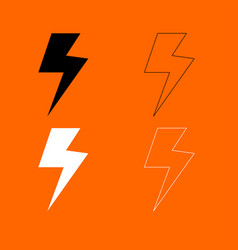 Symbol electricity black and white set icon vector