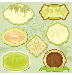 Set for wine labels or menu design vector