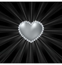 Shiny crystal love heart on black line vector