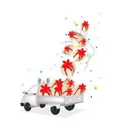 Gift Boxes Dropped on A Pickup Truck vector image