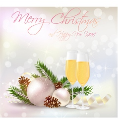 New year card champagne vector