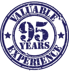 Valuable 95 years of experience rubber stamp vect vector