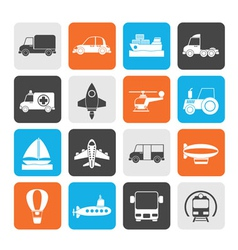 Silhouette different kind of transportation icons vector