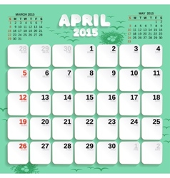 April month calendar 2015 vector