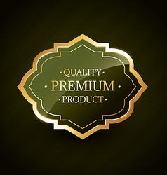 Premium product golden quality label badge design vector