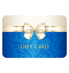 Blue gift card with damask ornament and cream vector