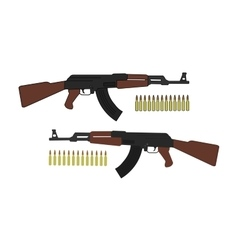 Assault rifle with bullets vector image