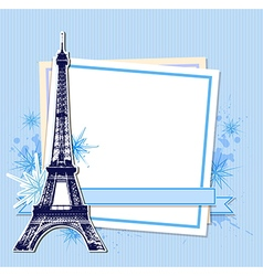 Eiffel tower and white sheet of paper vector