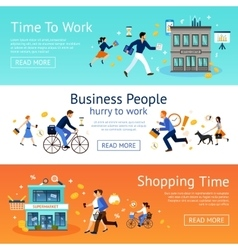 Business people banner set vector
