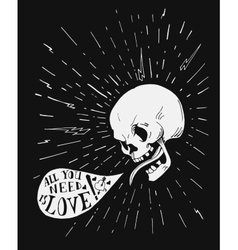 Hand drawn vintage tattoo skull with love quote in vector