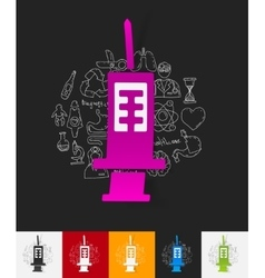 Syringe paper sticker with hand drawn elements vector