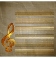 Paper musical background with gold lettering vector
