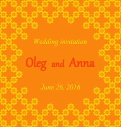Wedding invitation with embroidered patterns vector