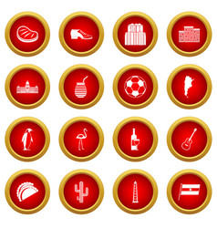 Argentina travel items icon red circle set vector