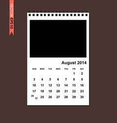 August 2014 calendar vector image vector image