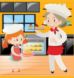 Baker and girl baking in kitchen vector