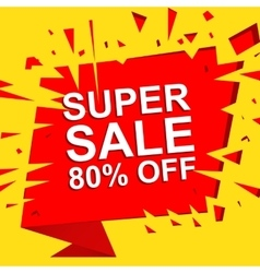Big sale poster with super sale 80 percent off vector