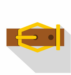 Brown leather belt icon flat style vector