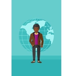 Businessman standing on globe background vector