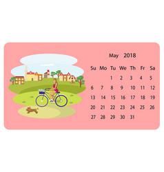 Calendar 2018 for may vector