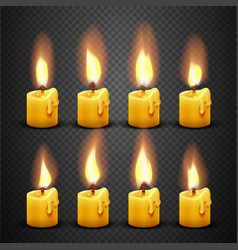 Candle with fire animation on transparent vector
