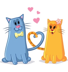 Cats in Love Cartoon vector image vector image
