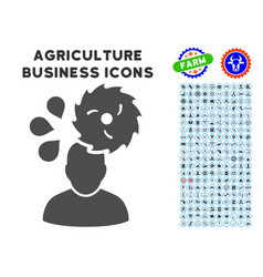 Circular saw accident icon with agriculture set vector