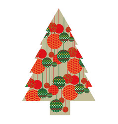 Color silhouette of christmas tree with pattern of vector