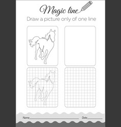 Coloring book with horse cartoon vector