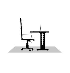 computer desk black vector image vector image