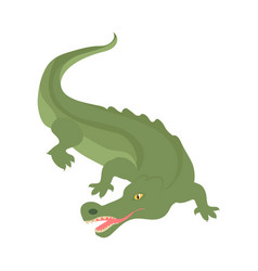 crocodile cartoon icon in flat style design vector image vector image